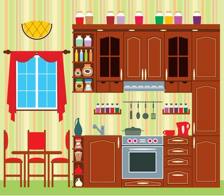 regiments: Picture of a kitchen with a window, a table and chairs.