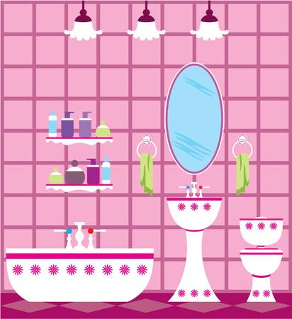Picture of a bathroom with accessories and lighting equipment. Stock Vector - 17312814