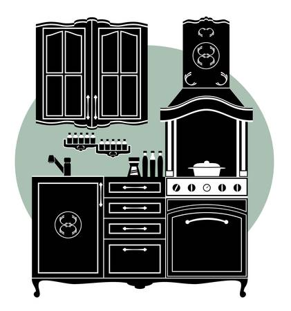 Image elements kitchens and accessories in black and white. Vector