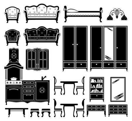 sofa set: Image of furniture and accessories for the room in black and white. Illustration