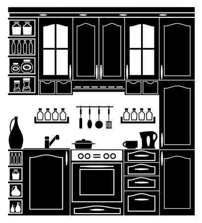 Icon image kitchen and accessories in black and white. Vector