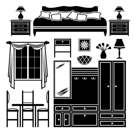 Set of images of furniture in black and white. Stock Vector - 17312818