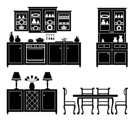 kitchen ware: Set of icons of kitchen furniture in black and white. Illustration