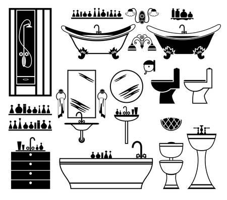 inodoro: Conjunto de iconos negros del cuarto de baño en un fondo blanco.
