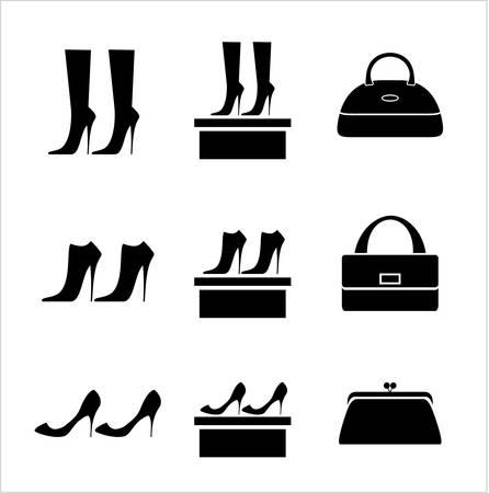 클러치: 블랙 아이콘 여성 가방 및 신발 일러스트
