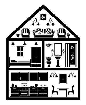 Icon of house with planning  Stock Vector - 17448299