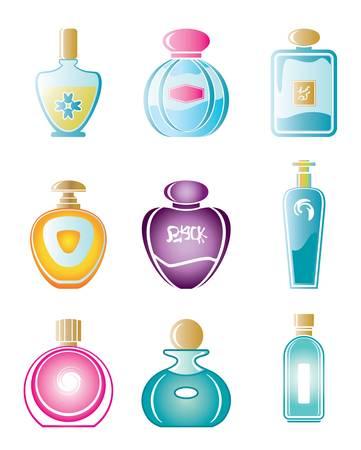 白い背景の上の香水瓶の異なる種類のセット。
