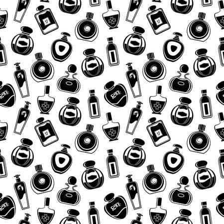 Naadloze patroon van verschillende flessen voor parfum. Vector Illustratie