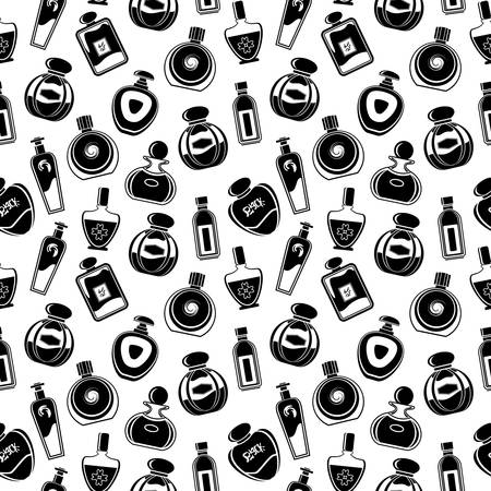 Seamless pattern of different bottles for perfumes. Vector