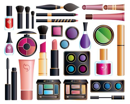 eyeshadow: Set of cosmetic accessories on a white background Illustration