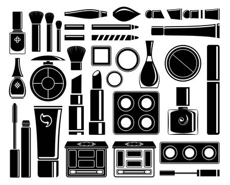Set of cosmetic accessories on a white background Illustration