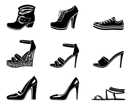 tacones: Conjunto de iconos de zapato mujeril sobre un fondo blanco.
