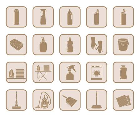 Set of icon cleaning on a white background Vector