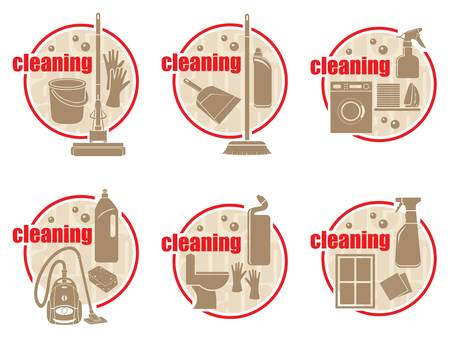 dustpan: Set of icon cleaning on a white background