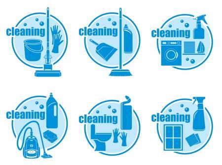 cleaning equipment: Set di icone di pulizia su sfondo bianco