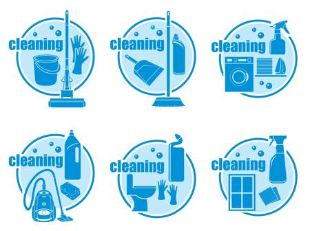 vacuum cleaning: Set of icon cleaning on a white background