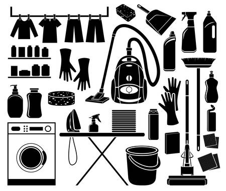 Set of icon cleaning in black and white. Illustration