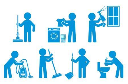 detersivi: Set di icone di pulizia con persone figura