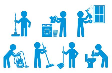 Set of icon cleaning with figure people Stock Vector - 17757488