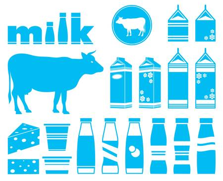 Set icons of milk, dairy products and cow Vector