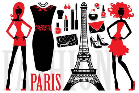 france perfume: Fashionable set with silhouettes of women