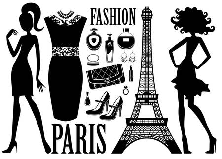 Fashionable set with silhouettes of women, cosmetics and bag Vector