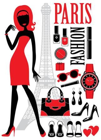 francia: Conjunto de moda con las siluetas de las mujeres, los cosm�ticos y bolsa