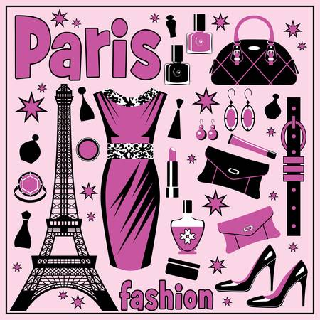 french perfume: Set of images of different accessories devoted to fashion. Illustration