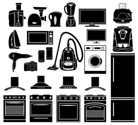 juice extractor: Set of black icons of household appliances