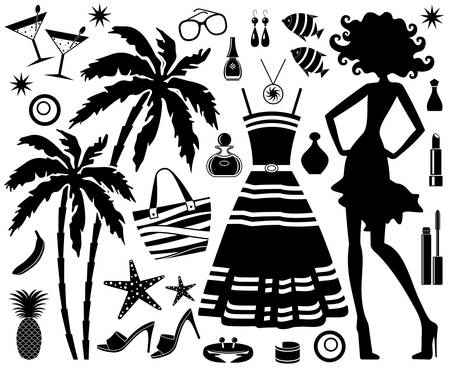Fashionable set of tropical rest with silhouette of woman Vector