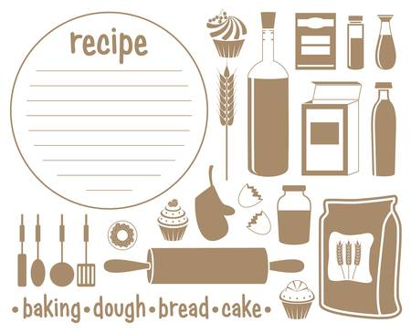 bread and butter: Set of products for baking. Recipe Illustration