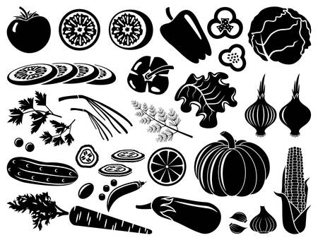 cabbages: Set of icons of vegetables
