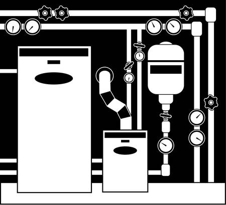 gas boiler: Boiler room in black and white color.