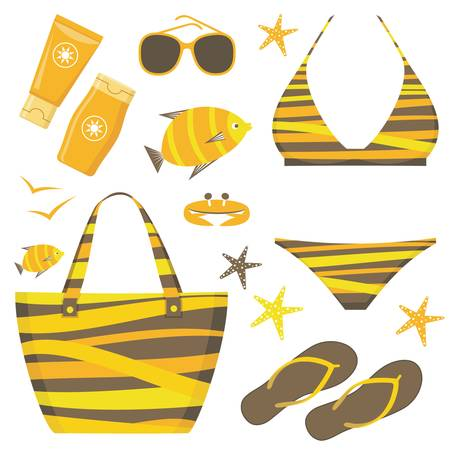 sunbath: Fashionable set with a swimming suit