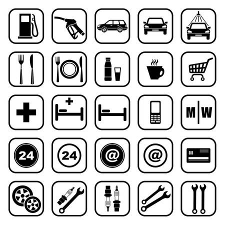 drink tools: Gas station icons Illustration