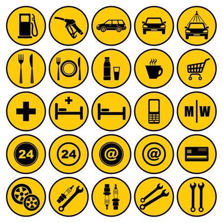 Benzinkút ikonok Illusztráció