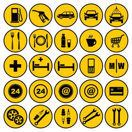 station service: Ic�nes de station de gaz Illustration