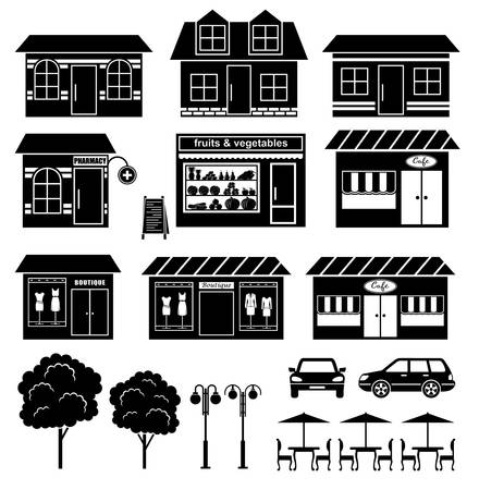 Set of icons of houses and shops Stock Vector - 19713714