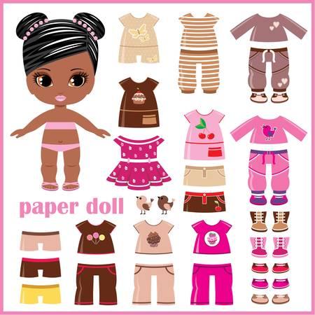 Papieren pop met kleding set Stock Illustratie