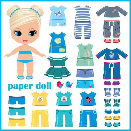 Poupée de papier avec des vêtements fixés