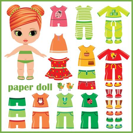 doll: Paper doll with clothes set Illustration