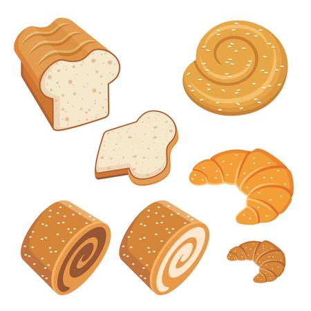 grain and cereal products: Set of loaves and bread. Illustration
