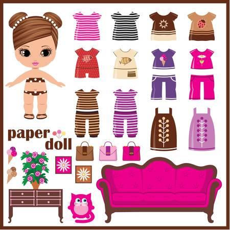 Puppe aus Papier mit Kleidung gesetzt. Vektorgrafik