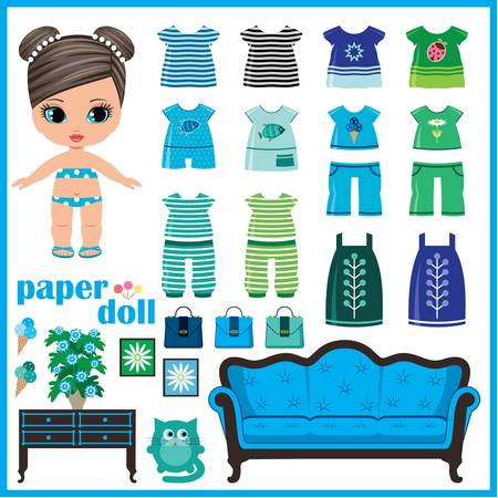 Paper doll with clothes set.  Illustration