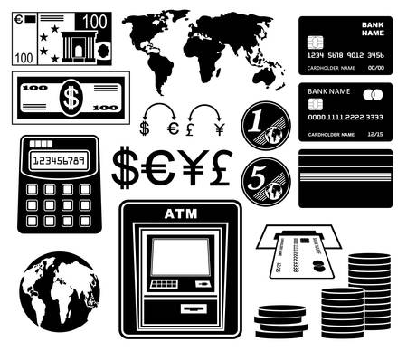 Financial, bank set of icons. Vector