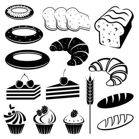 Set of baking and bread.  Vector