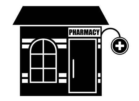 house facades: Black icon of pharmacy