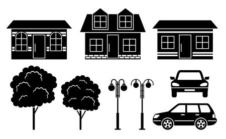 residential district: Black icons of houses, trees and machines Illustration