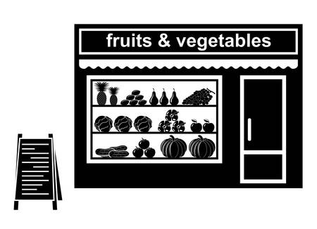 Black icon of shop of fruit Vector
