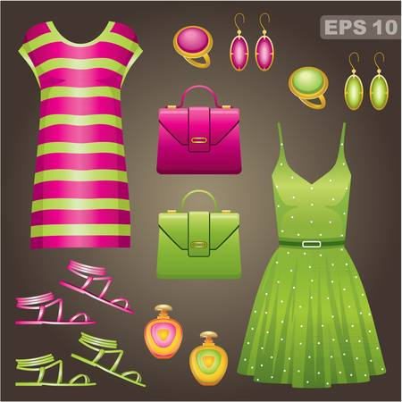 green clothes: Fashion set   Illustration